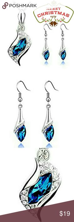 2pc Set Saphire Blu Teardrop Necklace & Earings NWT Beautiful Sapphire Blue Teardrop Necklace & Earring 2pc Set Classy and eye-catching crystal fashion statement that will make you stand out in any party or occasion yet suitable for everyday wear & occasion. It's also a perfect gift for birthdays, anniversarys, holidays, graduation, Christmas Etc. Pendant height * width: 2.6cm * 1.6cmChain length 40 +5 cm (extended chain)Earrings: 4.5 * 0.8cm Swarovski Jewelry