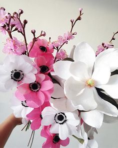 Just a handful of blooms in a sweet pink/white palette; anemone, plum blossom & magnolia grandiflora