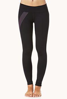 Neon Stripe Skinny Workout Leggings   FOREVER21 - 2042817169