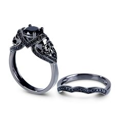 1.40Ct Blue Sapphire Round Cut Diamond Two Skull Engagement Ring In 925 Silver