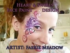 Valentine's Day Heart and Swirls Face Paint Design Video Tutorial