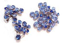 Vintage Blue Rhinestone Pin and Earrings by Weiss by bitzofglitz4u
