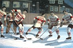 Outdoor Practice. From an archival pic of the Detroit Cougars, the year before they became the Red Wings. 1926. www.daverheaume.com