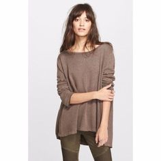 $108 Free People Brown Heat Low Back Shirred Pullover Sweatshirt XS 0 2 NWT F439 #FreePeople #KnitTop #Casual