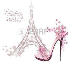 Schuhe mit hohen Abs�tzen auf dem Hintergrund der Eiffelturm Paris Fashion photo