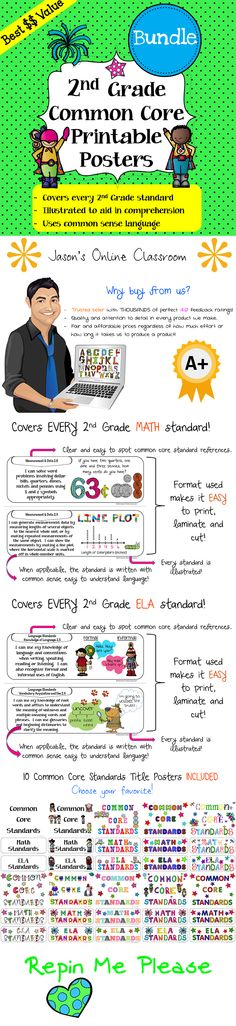 """Common Core Standards """"I Can"""" Statements Math & ELA Bundle! These posters cover every GRADE Math and ELA standard with fun and creative illustrations and common sense common core language. Save a ton of time by using our pre-made posters! Common Core Reading, Common Core Math, Common Core Standards, Common Sense, Online Classroom, Classroom Ideas, Classroom Posters, Future Classroom, School Fun"""