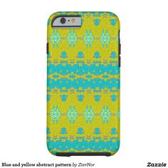Blue and yellow abstract pattern tough iPhone 6 case