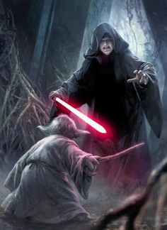 Yoda experiences a vision of Darth Sidious in the Dark Side Cave