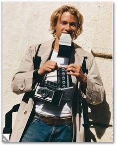 Heath Ledger & Polaroid 180 Land Camera, in Vanity Fair Magazine photo shoot, 2000