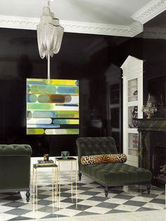 Tufted Chaise by Katie Scott | leopard bolster + green velvet