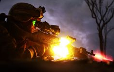 Marines light up the night a little differently . Marine Corps photo by Sgt. Sarah Fiocco/Released) US Marine Corps Military Photos, Military Army, Military Life, Military Gear, Airsoft, Surreal Photos, Photographs, Military Training, Us Marine Corps