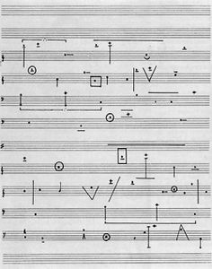 "continuo-docs: "" Horacio Vaggione - L'Art de la Musique for 4 oscillators The sound of 4 electronic oscillators is lovingly summoned in this enigmatic graphic score. Graphic Score, Experimental Type, Sound Art, Music Score, Sound Design, Data Visualization, Music Visualisation, Typography, Lettering"