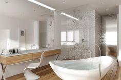 Styl glamour we wnętrzach – blask sławy Hollywood - Artykuły - HomeSquare Interior Design Inspiration, Home Interior Design, Dressing Table, Tiles, Bathtub, Doors, House, Bathrooms, Education