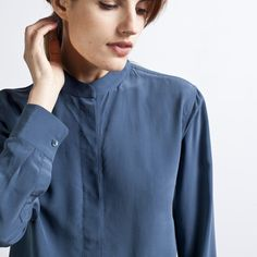 Everlane - Silk Blouse - Band Collar $80