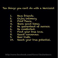 10 things you can't do with a narcissist