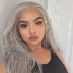 How beautiful!!!our stunner @melissacalma is perfectly rocking our grey wig.How do you love this onegirls?wig sku:edw1098 Use Coupon Code:spring18 to get 18% Off on your order. www.everydaywigs.com #everydaywigs#bangs#wig#hairstyle#hairstyleforgirls#wavywig#ombrewig#longhair#hairstyles#lacefrontwig#beauty#frontlacewig#frontlacewigs#syntheticwigs#synthetic#beauty#instyle#beautty