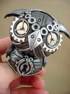 "monsterkookies on deviantArt cranks out some kool polymer clay stuff!  After much deliberation, I chose this Steampunk ""owlie""."