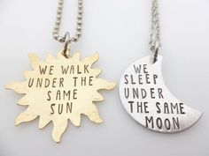 Long Distance Relationship Couples Necklace Set  by thelightandthedark1