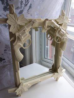 white American eagle gun mirror by CheeseCrafty on Etsy, $29.00