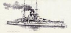 SMS Szent Istvan, clase Tegetthoff, alcanzado por dos torpedos lanzados por la MAS del Teniente Luigi Rizzo en la mañana del 10 de Junio de 1918, hundiéndose tres horas más tarde, siendo grabado en una famosa cinta cinematográfica. Cortesía de Aldo Cherini. Más en www.elgrancapitan.org/foro