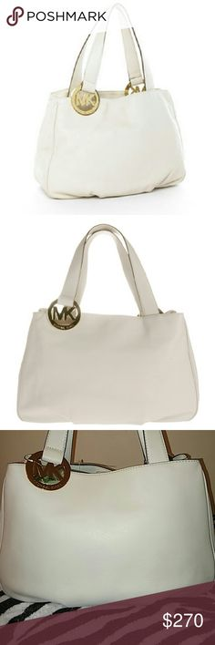Michael Kors Tote. Final Price. Michael Kors tote Fulton. Gold tone hardware. Top handles with logo charm rings. Vanilla white leather super soft.  ( Excluded  bundles). Michael Kors Bags Totes