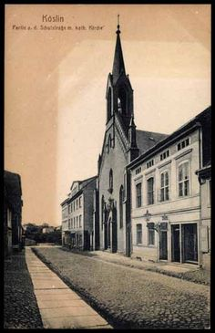 köslin | Postcard Köslin Pommern, Partie an der Schulstraße mit ...