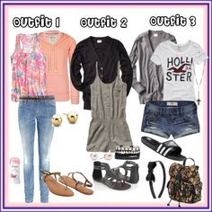 Some outfits for high school (don't wear adidas sandals! It's tacky!)