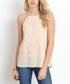 Add this sweet tank to your wardrobe for an elegant twist on a go-to basic. Embroidered organza gives it a refined feminine touch that draws the eye.
