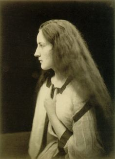 """Julia Margaret Cameron  The Echo  1868. """"Julia Margaret Cameron (1815 – 1879) was a British photographer. Cameron's photographic career was short, spanning eleven years of her life (1864–1875). She took up photography at the relatively late age of 48, when she was given a camera as a present. Although her style was not widely appreciated in her own day, her work has had an impact on modern photographers, especially her closely cropped portraits."""""""