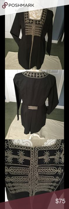 CAbi Tunic Jacket Size 8 Beautiful Jacket by Carole Anderson,  Dark Grey, beautiful braiding, long sleeve, hook aye closures.  Woven twill fabric.  If you know CAbi you know this is an upscale tunic jacket.  Great for dressing up a pair of leggings or jeans. Great for completing that holiday look.  Freshly dry cleaned, CAbi Jackets & Coats