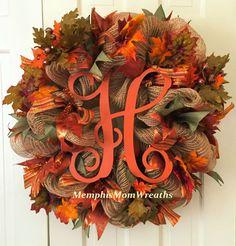 Fall Monogram Burlap Deco Mesh Wreath  by MemphisMomWreaths