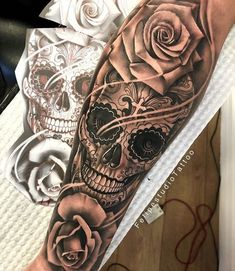 best full sleeve tattoos ever Skull Rose Tattoos, Skull Sleeve Tattoos, Rose Tattoos For Men, Best Sleeve Tattoos, Sleeve Tattoos For Women, Tattoo Sleeve Designs, Tattoos For Guys, Sugar Skull Sleeve, Calf Sleeve Tattoo