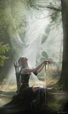 White Dragon (via Kelsey Marino) [White ghostly dragon and female archer]