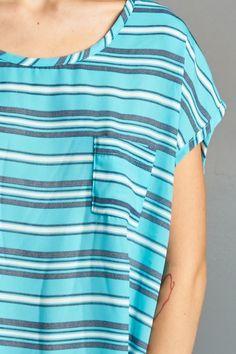 Nautical Striped Loose Fit Hi-Low Top