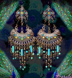 These handmade chandelier earrings measure 5 1/2 long x 2 1/4 wide. Theyre made with genuine turquoise magnesite gemstone, black glass, hand-set Swarovski