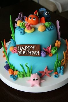 Finding Nemo Cake-just change some to make into Bubble Guppies cake-soooo cute!