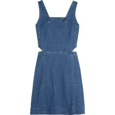 Madewell Cutout denim mini dress (4.112.670 VND) ❤ liked on Polyvore featuring dresses, blue, madewell, cutout mini dress, cut out dress, blue cutout dress and side cut-out dresses