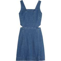 Madewell Cutout denim mini dress (214,820 KRW) ❤ liked on Polyvore featuring dresses, blue, denim dresses, cutout dresses, mini dress, panel dress and cut out mini dress