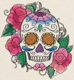 Bella Muerte - Calavera sugar skull embroidered fabric quilt square block