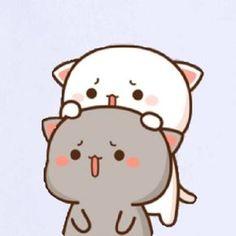 蜜桃猫 Chibi Cat, Cute Chibi, Disney Canvas Paintings, Cute Cartoon Images, Anime Character Drawing, Grey And White Cat, Cute Love Pictures, Kawaii Cat, Love Stickers