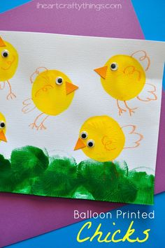 Balloon Printed Chicks Kids Craft. Great craft for kids for Easter or Spring. from iheartcraftythings.com