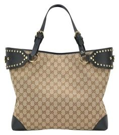 Gucci Patti Studded Gg Canvas Tote Handbag Shoulder Bag 22% off retail