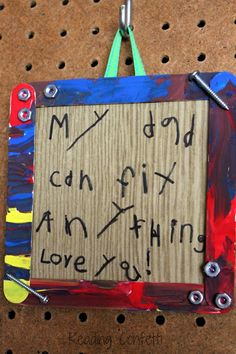 Its easy for kids to make this simple frame and message, and it makes a great Father's Day gift.