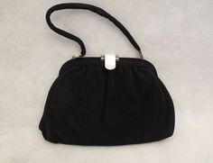 Faigen Black Suede Calf Skin Handbag