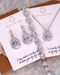 Cubic Zirconia Jewelry Silver Teardrop CZ Jewelry Set - White Gold Teardrop Earrings, Bracelet and Necklace made with AAA cubic zirconia. Wedding jewelry for brides and bridesmaids. Simple and elegant. Wedding Jewelry And Accessories, Wedding Jewelry For Bride, Bridal Jewelry Sets, Wedding Earrings, Hair Accessories, Bridesmaid Jewelry Sets, Bridesmaid Gifts, Bridesmaid Earrings, Bridesmaid Accessories