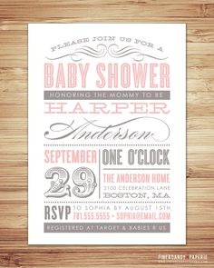 Old Fashioned Baby Shower Invitation. $20.00, via Etsy. Would be easy to make on publisher or word