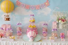 Hot air balloon theme party table set up
