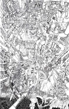 Ink Illustrations, Illustration Art, Art Sketches, Art Drawings, Art Cyberpunk, City Drawing, Ghost In The Machine, Perspective Art, Art Studies