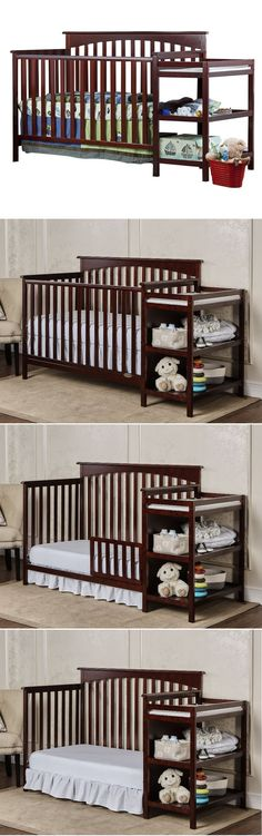 Baby Nursery Crib With Changing Table Furniture Toddler Bed Cherry Mattress