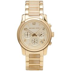 Michael Kors Runway Chronograph Watch ($250) ❤ liked on Polyvore featuring jewelry, watches, accessories, bracelets, relojes, chronograph wrist watch, michael kors bracelet, bracelet jewelry, stainless steel jewellery and bracelet watches